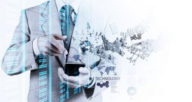 32580991 - double exposure of businessman shows modern technology as concept