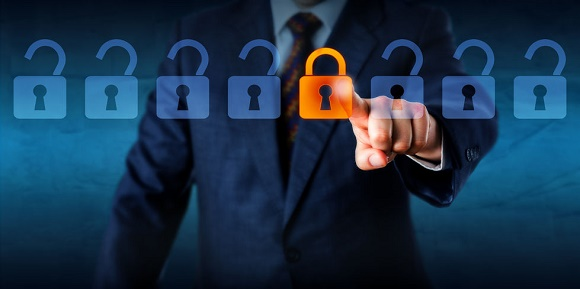 49599825 - torso of a manager is locking one virtual lock in a lineup of open padlocks. business metaphor and technology concept for cyber security, critical data streaming, encryption and personal information.