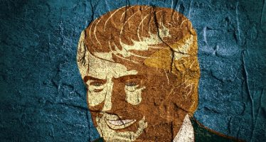 54013911 - january 18, 2016: an illustration of a portrait of republican presidential candidate donald trump on background textured by concrete wall surface