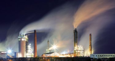 39213829 - oil refinery with vapor - petrochemical industry at night