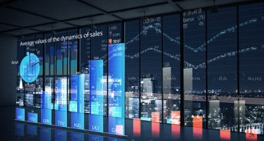 50599446 - modern office window view with virtual market infographs