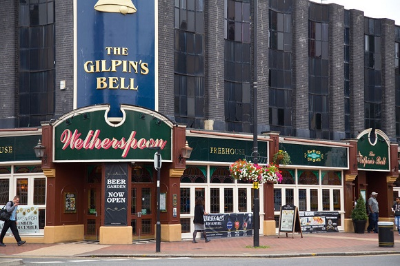 31471223 - london - september 5th: the exterior of the gilpin's bell pub on september the 5th, 2014, in london, england, uk. wetherspoon's is the uk's biggest pub chain.