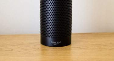 73987078 - leeds, uk - 18 march 2017.  amazon echo speaker with alexa assistant