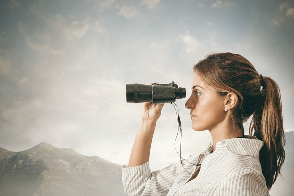 25158132 - concept of business exploration with businesswoman and binoculars