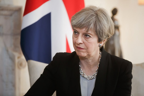 76377888 - london, uk - apr 10, 2017: prime minister of the united kingdom theresa may during an official meeting with the president of ukraine petro poroshenko at 10 downing street in london