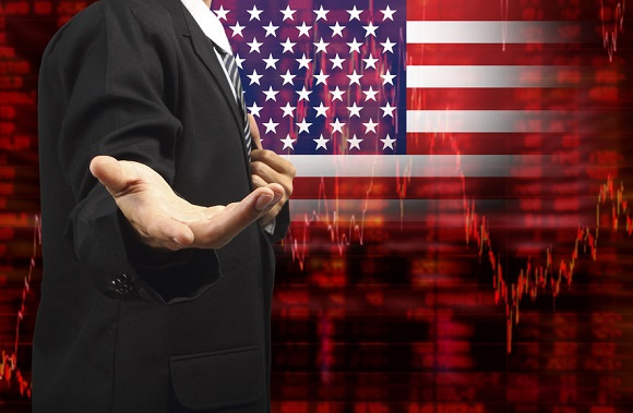 44237723 - flag of usa, downtrend stock diagram with business man with empty hand
