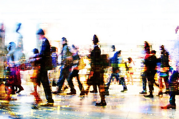 79485530 - lots of business people walking in the city. business and modern life concept. multiple exposure image.