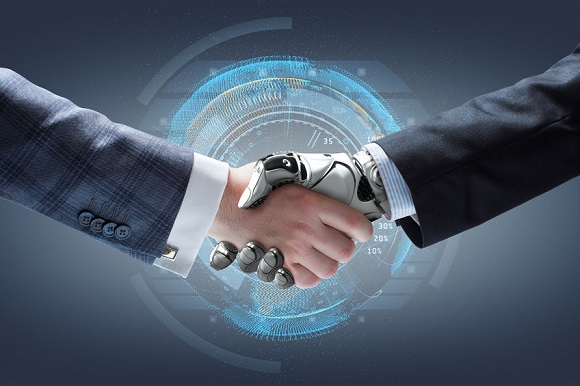 60891384 - businessman and robot's handshake with holographic earth globe on background. artificial intelligence technology