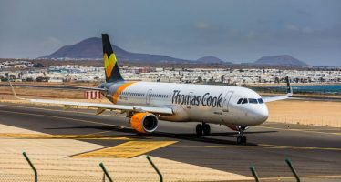80742145 - arecife, spain - april, 15 2017: airbus a321 of thomas cook with the registration g-tcdj ready to take off at lanzarote airport