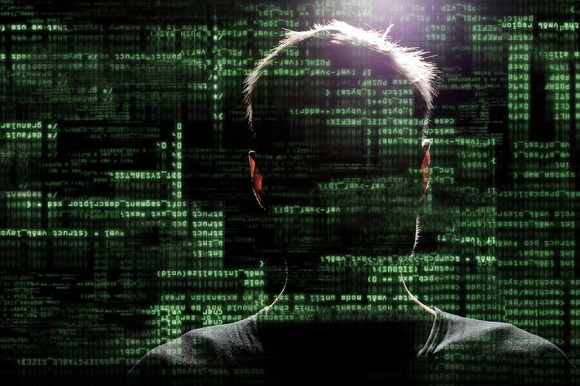 30204559 - silhouette of a hacker uses a command on graphic user interface