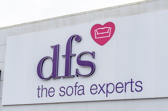 90048605 - northampton, uk - oct 26, 2017: view of dfs sofa experts logo in nene valley retail park.