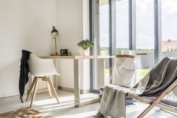 68553766 - white room with deckchair, wooden desk, chair and window wall
