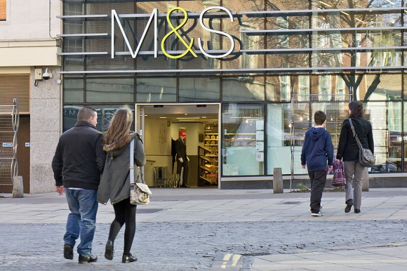 27001615 - norwich, uk - february 21, 2014: large branch of the marks and spencer department store chain in norwich city centre.