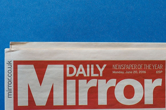 72616300 - london, uk - circa december 2016: daily mirror logo on newspaper front page