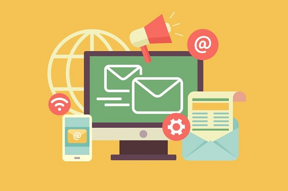 43128759 - email marketing. propagation and sharing, promotion and support, optimization and megaphone. flat vector illustration