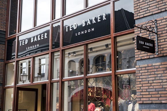 Roermond Netherlands 07.05.2017 - Logo of the Ted Baker London Store in the Mc Arthur Glen Designer Outlet shopping area